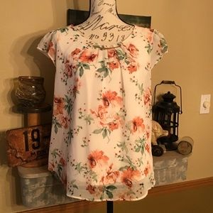 Lily White Beautiful Creamy White Floral Blouse L